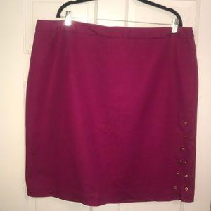 Magenta pencil skirt w/ gold button slit